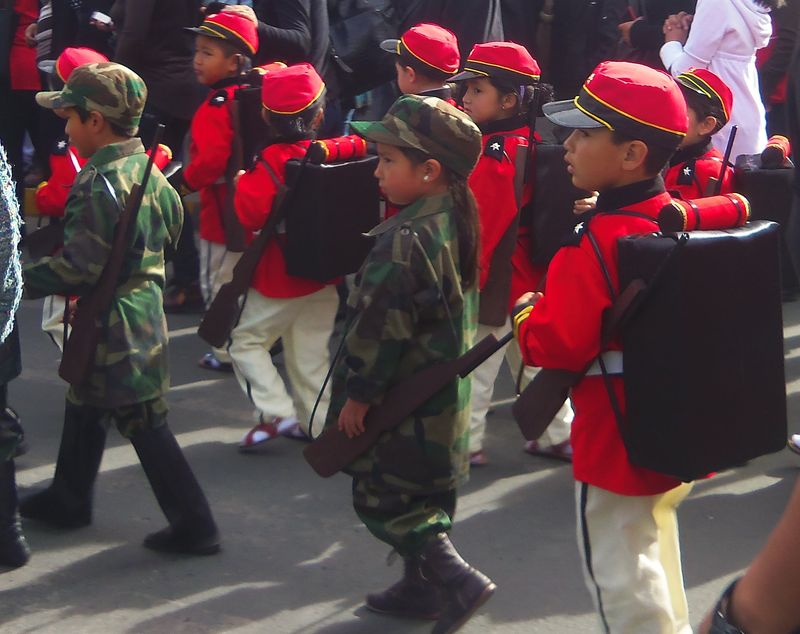 Kindergartners in red and green, el dia de la patria